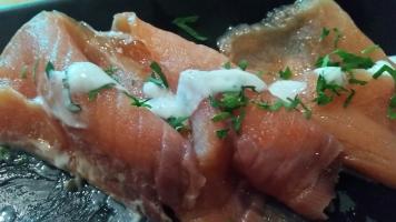 Salmone wild con gelato al basilico
